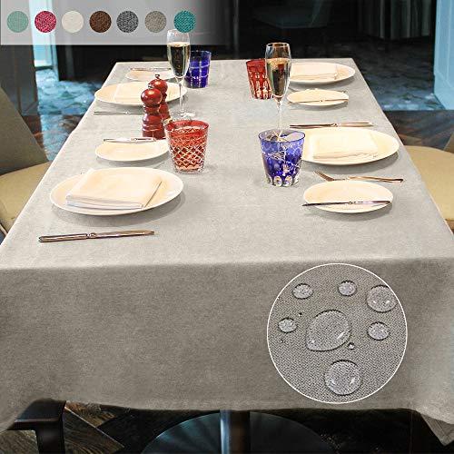 Luoluo mantel rectangular impermeable de lino lavable y lavable para mesa de comedor, manteles de fiesta, beige, 145*215