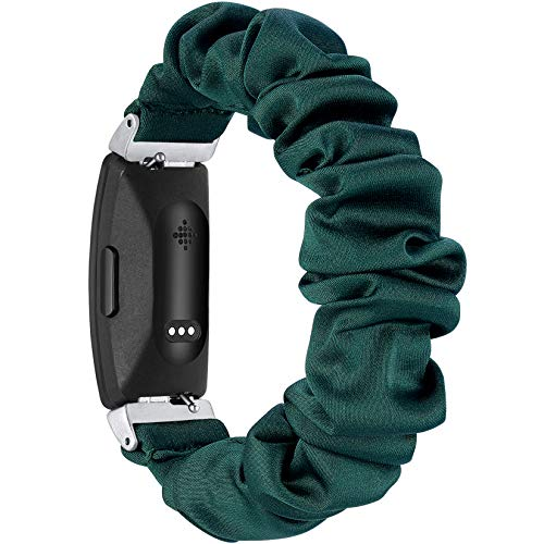 fastgo Compatible with Fitbit Inspire HR Bands/Scrunchie Fit Bit Inspire Band, Women Girls Fancy Elastic Bracelet Stretchy Soft Fabric Replacement Wristbands Heart Rate Straps Accessories (Dark Green)