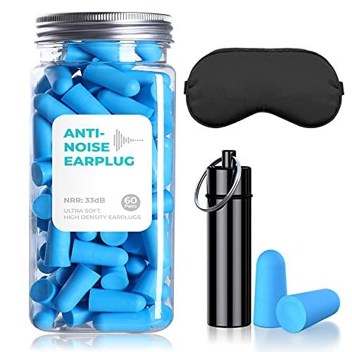 Tapones para los oídos de espuma suave,33Decibel60pc para tapones para los oídos,máscaras para los ojos y maletas de aluminio, que se utilizan para dormir, roncar, estudiar, viajar, trabajar la madera