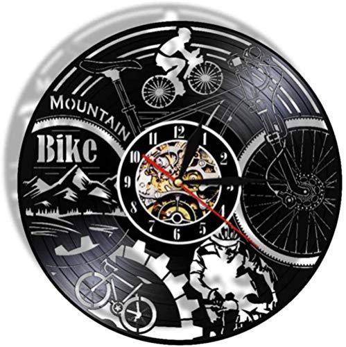 zgfeng Bicicleta de montaña Decoración 3D Luz LED Control Remoto Adventure Bike Record Reloj de Pared Reloj Disco de Vinilo Reloj de Pared-con LED