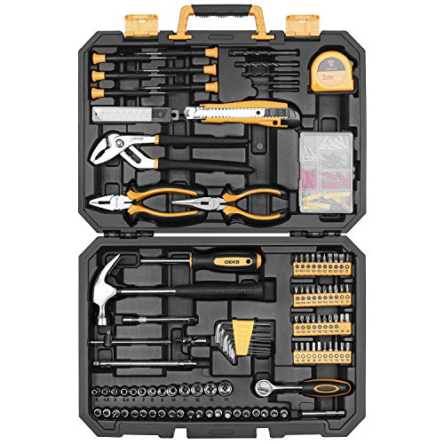 DEKO 196 Piece Tool Set General Household Hand Tool Kit with Rip Claw Hammer,Lineman's Plier, Measure Tape Rule & Plastic Toolbox Storage Case…