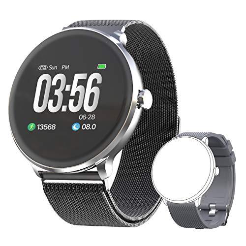 Bebinca Smartwatch Reloj Inteligente con Cronómetro, Pulsera Actividad para Deporte,Reloj de Fitness con Podómetro Hombre Mujer Niños para Samsung Huawei iPhone + 1 Correa de Metal(Gris)