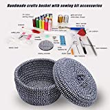 Handmade Crafts Basket with Sewing Accessories and Supplies, Sewing Basket with Sewing Kit, Cotton Sewing Box for Beginner Emergency Clothing Fixes Travel