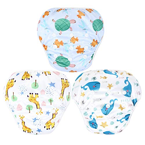 Leekalos One Size Adjustable Reusable Swim Diaper Boys & Girls, Swim Diapers for Baby Shower Gifts & Swimming Lessons, Pack of 3 (Fish, Giraffe, Whale, Large)