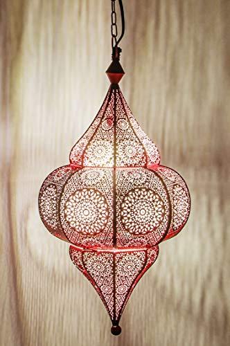 Bunte Pendelleuchte Lampe Pink Malha 48cm E14 Lampenfassung | Marokkanische Design Hängeleuchte Leuchte aus Marokko | Orient Lampen für KInderzimmer Küche oder Hängend über den Esstisch