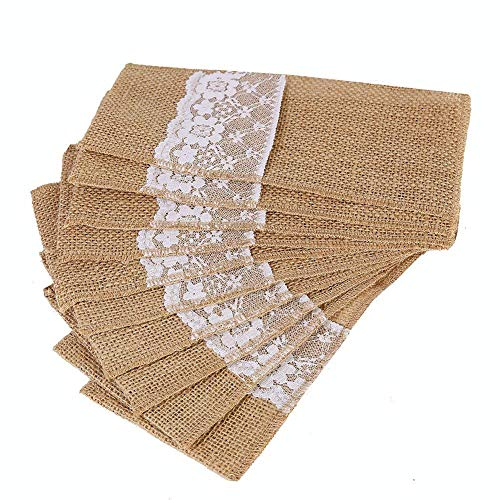 OZXCHIXU TM 100 Pack Natural Burlap Cutlery Holder Pouch Bag 4x8.5 Inch with Lace Silverware Napkin Holders Wedding Party Bridal Shower Table Setting Table Decoration