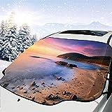 Berühmte mediterrane Sonnenaufgang am Strand mit Kieselsteinen Tourismus Serene View Print Einheitsgröße Auto Windschutzscheibe Abdeckung Faltbare Sonnenschutz