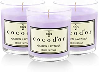 Cocod'or Premium Jar Scented Candles 3 Pack, Garden Lavender, 30-40 Hour Extended Burn Time, Made in Italy