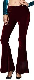 Women's Solid Elastic Waist Trousers Velvet Bell Bottom Pant