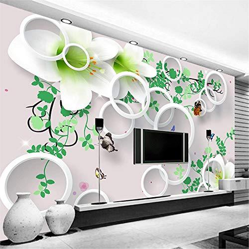 JIYOTTF 3D Wandbild Wandbild selbstklebender VliesstoffAbstrakt Rund Grün Botanisch Floral(W 400 x H 280cm) 3D Foto Wallpaper Wandbild Wanddekoration Poster Art Abnehmbare Wandbild Wandaufkleber