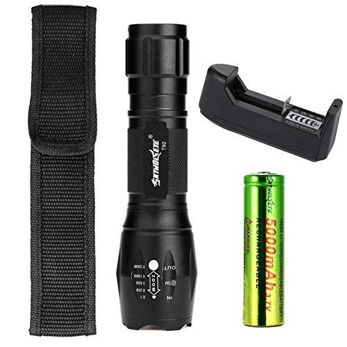 SKYWOLFEYE Linterna LED XM-L T6 con zoom de 8000 lúmenes, 5 modos, lámpara de enfoque portátil + batería 18650 + soporte de batería + funda