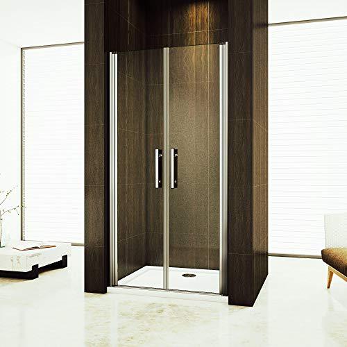 80cm Duschabtrennung Verstellbereich von 76-80cm Höhe:195cm Duschtür Doppel Nischentür Duschwand aus 6mm Sicherheitsglas mit Nanobeschichtung