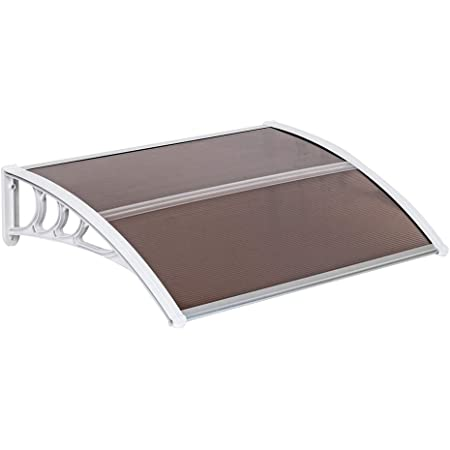 Translucent Brown and Black Polycarbonate Hollow Sheet Door Canopy Sun Shelter with ABS /& Aluminum Brackets Knocbel Outdoor Patio Window Awning 39x 39