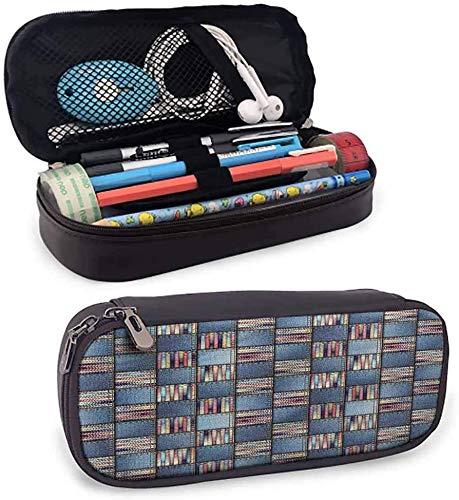 KLKLK Mäppchen Patchwork Cute Pencil case Denim Quilt Design Checks Pencil case Perfect Gift