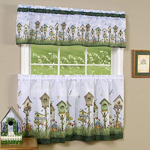 bed bath n more Traditional Two-Piece Tailored Tier and Valance Window Curtains Set with Whimsical Birdhouse Print - 36 inch