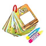 Doodle Agua Palabra Tarjetas Cognitivas de Educación Temprana para Niños Bebés con 2 Bolígrafos Mágicos Juegos de Escribir Pintar Aprender Números 26 Letras Tarjetas Acuarelas Infancia (Letra)