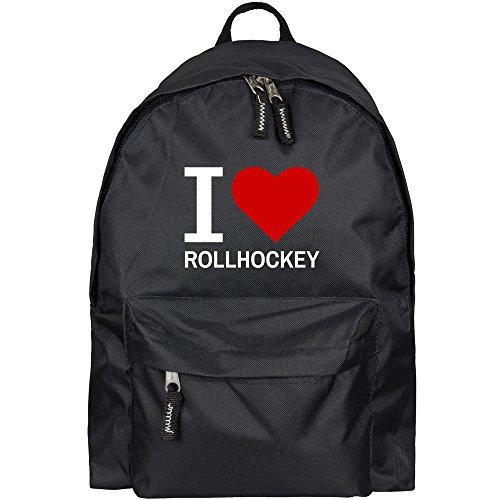 Rucksack Classic I Love Rollhockey schwarz - Lustig Witzig Sprüche Party Tasche