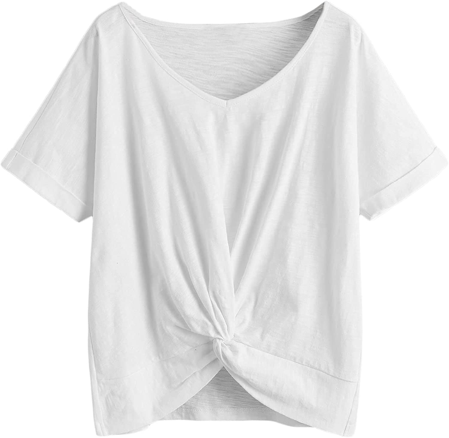 Milumia Women Plus Size Twist Front V Neck Tee Cuffed Short Sleeve Solid T Shirt Tops