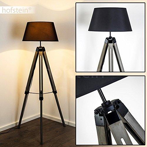 Stehlampe Lekerika, Vintage Stehleuchte in Schwarz/Grau aus Holz/Metall/Textil, E27-Fassung, max. 40 Watt, verstellbare Bodenleuchte im Retro-Design m. Stellschrauben u. Fußschalter, LED geeignet