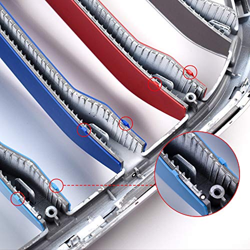 N/H KUNGKIC M-Colored Grille Insert Trims Strips Grills Cover 3pcs Compatible with BMW X6 2020 (Red Light Blue Dark Blue)