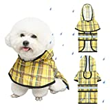 BINGPET Plaid Dog Raincoat - Hooded Waterproof Pet Poncho with Reflective Strap, Lightweight Dog Rain Coat Jacket with Leash Hole, Fit for Small Medium Dogs, Yellow