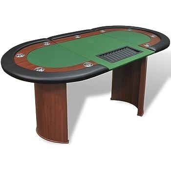 vidaXL 10 Player Casino Poker Table Leg Folding Top Dealer Area Chip Tray Cup Holder