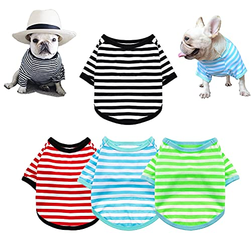 4-Pack Dog Shirts Pet Summer Doggie Clothes Breathable Striped Outfits Puppy T-Shirts Apparel for Small Dog Cat Boy and Girl (M, Black & Red & Blue & Green)