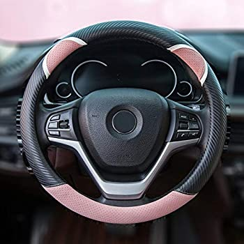Alusbell Cute Carbon Fiber Steering Wheel Cover Synthetic Leather Auto Car Steering Wheel Cover for Women Universal Fit 15 Inch  Pink