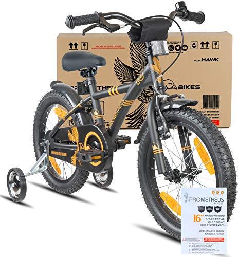Prometheus vélo Enfant 16 Pouces pour garçons et Fille en Noir Mat et Orange à partir de 5 Ans avec stabilisateurs et rétropédalage - BMX 16 Pouces modèle 2019