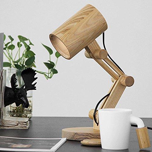 Pumpink Cartoon Retro Bar Eiche Tischlampe Nordic Schlafzimmer Bedside Creative Holz Schreibtisch Lampe Kanone Katapult Verstellbare Schreibtisch Licht Tisch Licht (Color : B)