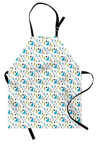 Drachen-Schürze, Hand gezeichneter Illustrations-Druck des Jungen und des Mädchens mit Tiercharakteren-Cartoon-Art, Unisexküchen-Latzschürze mit justierbarem Hals für das Kochen backende Gartenarbeit,