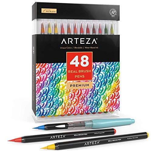 Arteza Real Brush Pens, 48 Colors for Watercolor Painting with Flexible Nylon Brush Tips, Paint Markers for Coloring, Calligraphy, Drawing with Water Brush, Art Supplies for Artists and Beginners