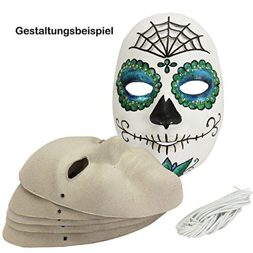 Maske Erwachsene aus Pappe 6 Stück Karneval-Maske / Papp-Masken ca. 23x15,5 cm aus grauer Pappe blanko Gesichtsmasken Faschingsmaske Maskenball Kostüm-Ball / Faschingsmaske selber basteln | 221450
