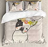 Lunarable Dog Duvet Cover Set, Hand Drawn French Bulldog with Wreath on Its Head Watercolor Domestic Pet Illustration, Decorative 3 Piece Bedding Set with 2 Pillow Shams, Queen Size, Pale Rose