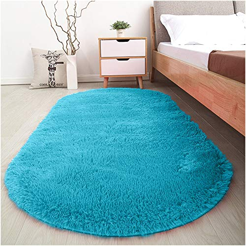 Softlife Fluffy Area Rugs for Bedroom 2.6' x 5.3' Oval Shaggy Floor Carpet Cute Rug for Girls Kids Room Living Room Home Decor, Turquoise Blue