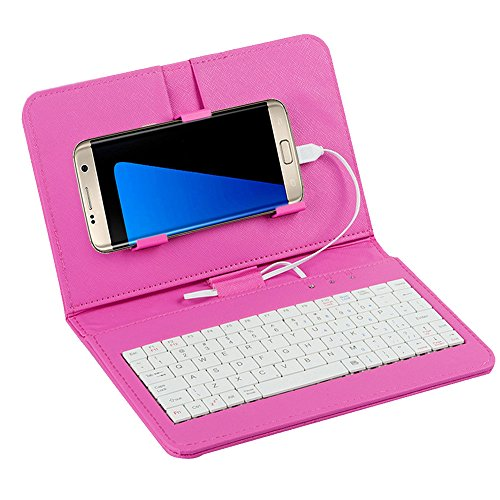 Tonsee General Wired Keyboard Flip Holster Case for Andriod Mobile Phone 42 68Rosa