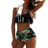 Yesmile Ropa de Baño Mujer Bikini Deportivo Mujeres Alta Cintura Bikinis Traje de Baño Swimsuit Mujer Retro Beachwear Bikini Set (L, Verde)