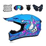 LLY Casco Motocross Niño - Azul/Dibujos Animados - Forro Extraíble, Casco De Cross con Gafas Máscara Guantes Red Elástica para Moto MX Quad Enduro Off Road ATV Scooter,M