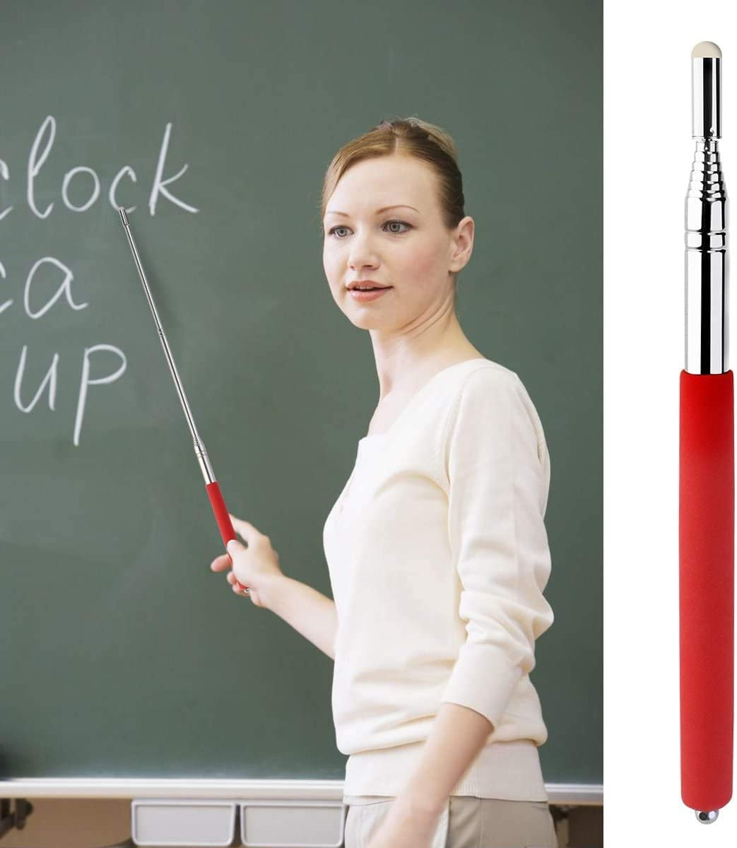 Extendable Whiteboard Pointer Stick Black 1m//3.3ft Meeting Handheld Flag Pole with Clips Portable Tour Flagpoles Presenter Retractable Teacher Stick for Classroom Telescopic Teachers Pointer