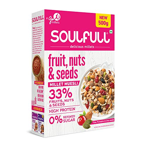 Soulfull Fruit Nut and Seeds Millet Muesli, 500g