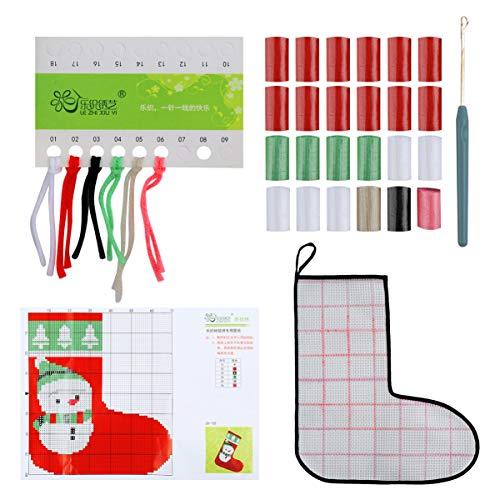 Milisten Kit de Bordado de Calcetín de Navidad Que Incluye Ganchillo de Ganchillo Tela de Bordado Paquetes de Lana Kits de Punto de Cruz de Navidad para Funda de Almohada de Alfombra