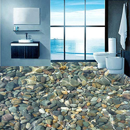 Mural de pared 3d azulejos de piso de adoquines submarinos realistas baño baño para sala de estar autoadhesivo impermeable vinilo mural de pared 250x175cm