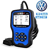 Car Code Reader for VW Audi Skoda Seat All Series, Enhanced AP7610 Full-Systems Diagnostic Scanner With Transmission EPB ABS SRS DPF TPMS Check Engine Oil Service & Brake Pad Reset Tool [New Version]