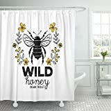Emvency Shower Curtain Waterproof Adjustable Polyester Fabric Honeycomb Honey Label Design for Organic Products Abstract Animal Badge Bee Beehive 72 x 72 Inches Set with Hooks for Bathroom