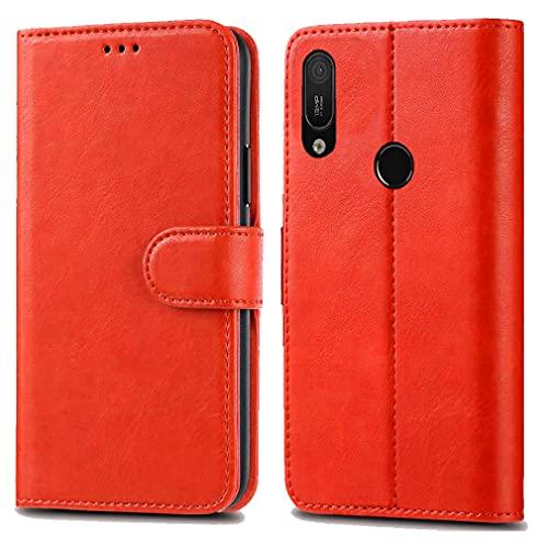 Huawei Y6 Y6s Pro 2019 / Honor 8A Pro Ledertasche - Premium Wallet Hülle Leder Flip Cover für Huawei Y6 Y6s Pro 2019 / Honor 8A Pro 6.1 Zoll [Kartenhalter] [Magnetverschlus] (Rot)