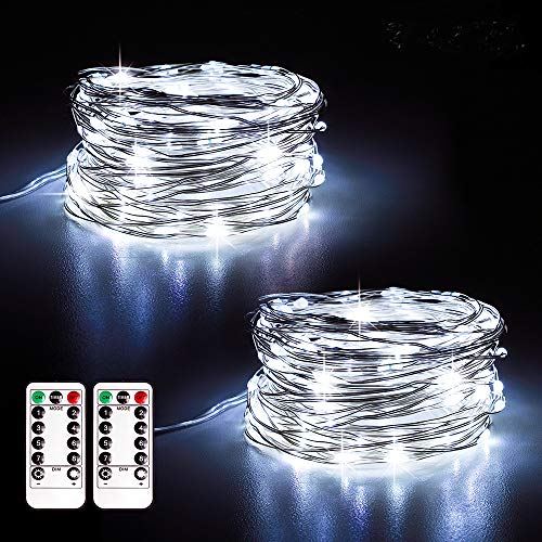 Annefly 2Pack 10M USB Powered Fairy Lights Plug in String Lights with Remote and Timer for Bedroom Indoor Outdoor Decoration(Cool White)