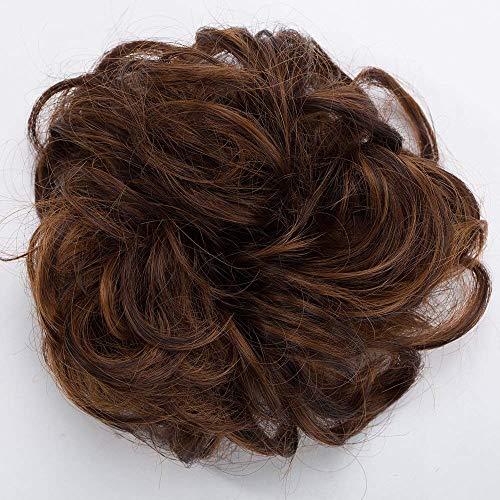 Chignon Capelli Finti Extension Elastico Updo Toupet Donna Hair Bun Ponytail Scrunchie Parrucchino Posticci Ricci, Castano Ramato Chiaro mix Marrone