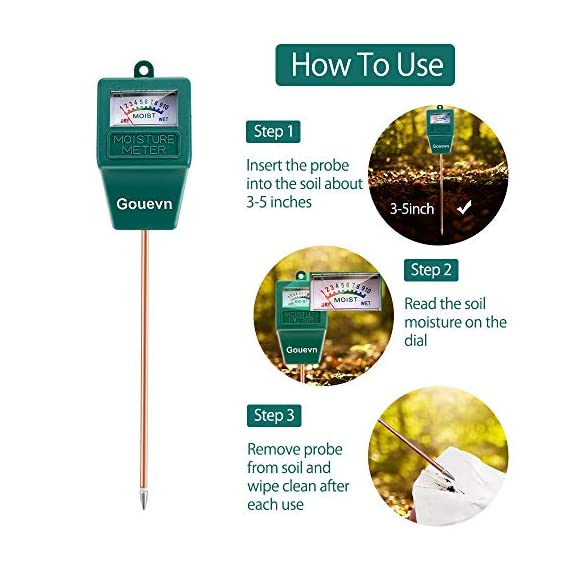 """Gouevn Soil Moisture Meter, Plant Moisture Meter Indoor & Outdoor, Hygrometer Moisture Sensor Soil Test Kit Plant Water… 7 🌼 SIMPLE and EFFECTIVE: Gouevn Soil moisture meter only for testing soil moisture, basic model works stably. Plug and read, responds quickly and provides easily readout. Large dial, ten scales. Includes watering guide for 200 plants printed on the back of the packaging. 🌼 INDOOR & OUTDOOR USE: A super helpful tool for your garden, Yard, lawn, Farm, potted plants etc. Especially is important for some delicate plants which are very sensitive to over or under watering. 🌼 LONG PROBE SENSOR: 7.7"""" probe length specifically designed for measure water at the root level, For use on any plant, even it is big potted plants."""