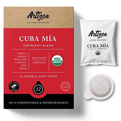 Organic Authentic Cuban Espresso Cafecito | Cuba Mia Double Espresso ESE Coffee Pods | 55mm | High Intensity | Low Acidity | Dark Roast | 14g | Freshly Roasted in Miami, FL | 12 Pod…