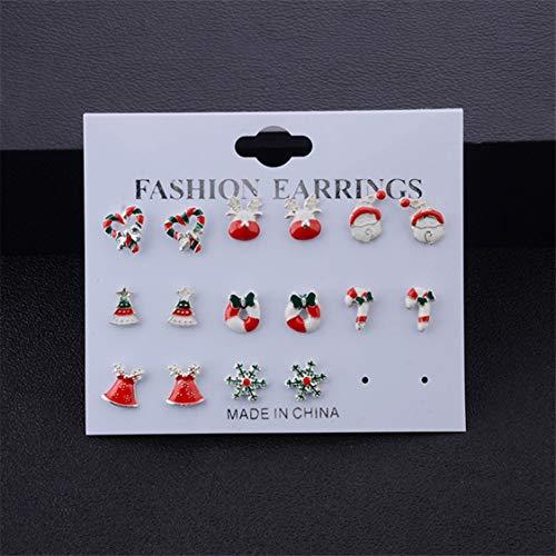Idiytip 8 Pairs Christmas Stud Earring Set Santa Claus Deer Colorful Bow Garland Alloy Earrings Girl Jewelry Ladies Gift